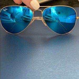 Ray-Ban 3025 Blue Aviator Sunglasses 58mm